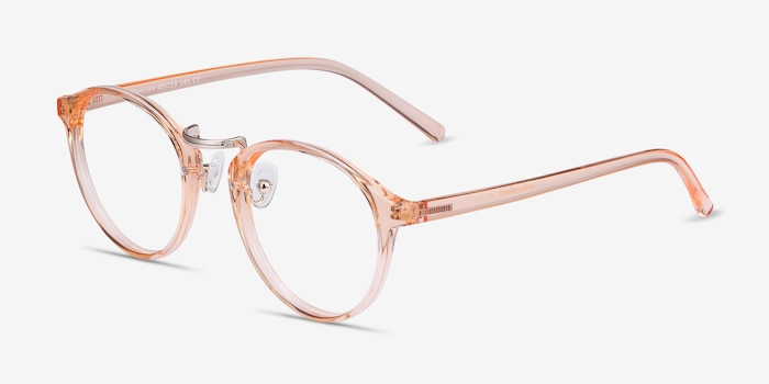 Chillax Clear Melon Metal Eyeglass Frames from EyeBuyDirect, Angle View