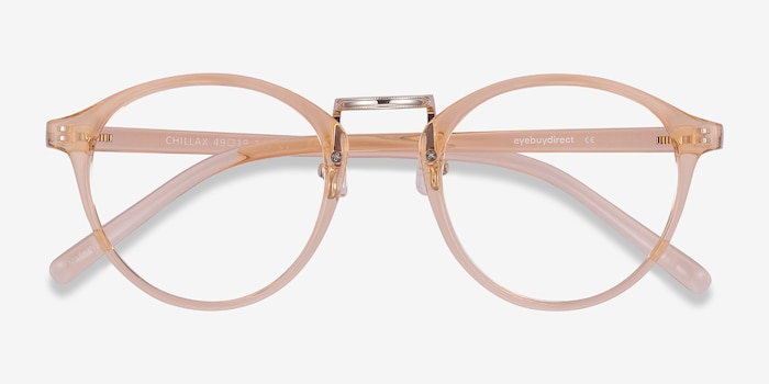 Chillax Clear Melon Metal Eyeglass Frames from EyeBuyDirect, Closed View