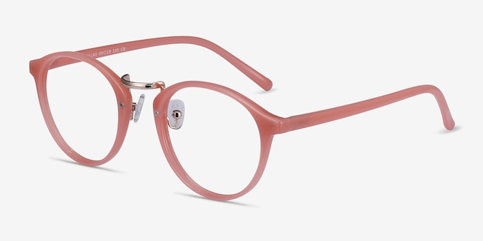 Chillax Coral Metal Eyeglass Frames from EyeBuyDirect, Angle View