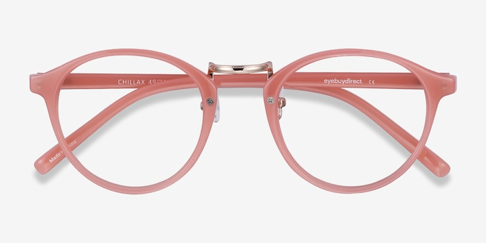 Chillax Coral Metal Eyeglass Frames from EyeBuyDirect, Closed View