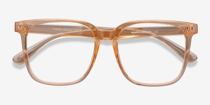 Piano Melon Plastic Eyeglass Frames from EyeBuyDirect, Closed View