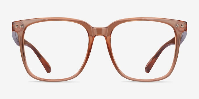Piano Brown Plastic Eyeglass Frames from EyeBuyDirect, Front View