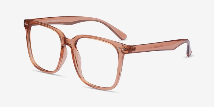 Piano Brown Plastic Eyeglass Frames from EyeBuyDirect, Angle View