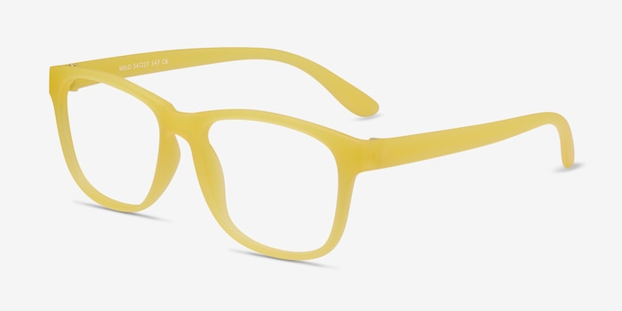Milo Yellow Plastic Eyeglass Frames from EyeBuyDirect, Angle View