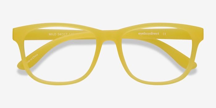 Milo Yellow Plastic Eyeglass Frames from EyeBuyDirect, Closed View