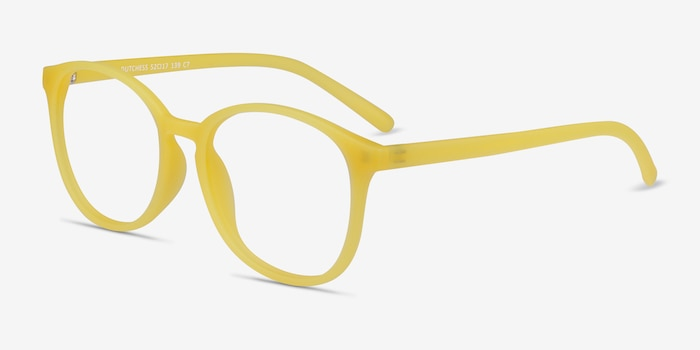 Dutchess Yellow Plastic Eyeglass Frames from EyeBuyDirect, Angle View