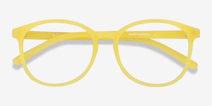 Dutchess Yellow Plastic Eyeglass Frames from EyeBuyDirect, Closed View