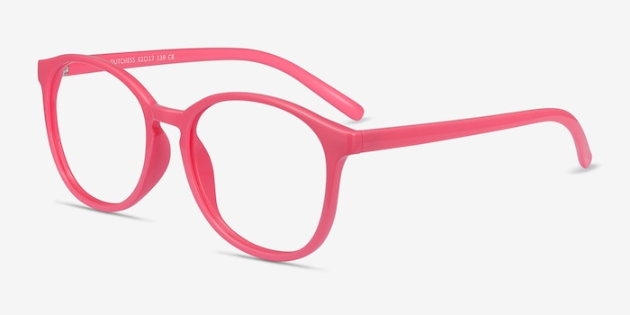 Dutchess Neon Pink Plastic Eyeglass Frames from EyeBuyDirect, Angle View
