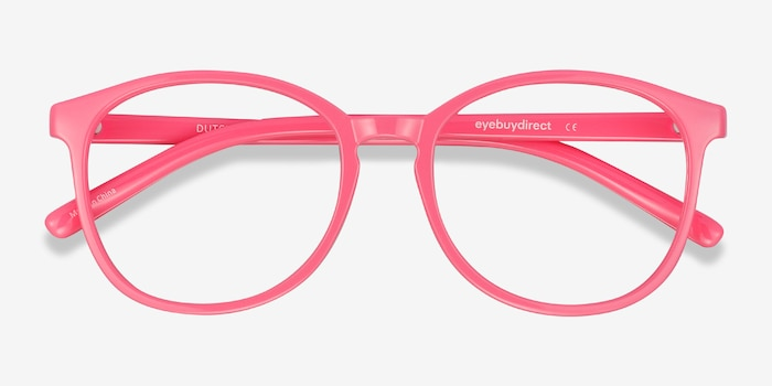 Dutchess Neon Pink Plastic Eyeglass Frames from EyeBuyDirect, Closed View