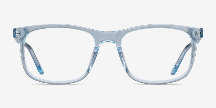 Ballast Clear Blue Acetate Eyeglass Frames from EyeBuyDirect, Front View