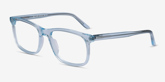 Ballast Clear Blue Acetate Eyeglass Frames from EyeBuyDirect, Angle View