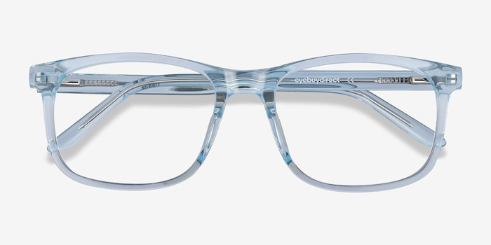 Ballast Clear Blue Acetate Eyeglass Frames from EyeBuyDirect, Closed View