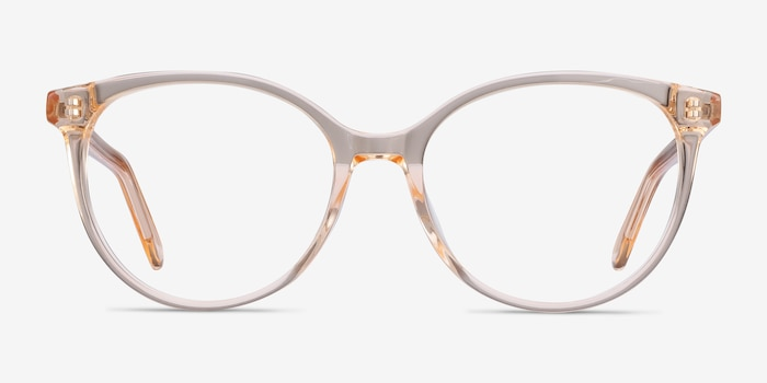 Nala Clear Melon Acetate Eyeglass Frames from EyeBuyDirect, Front View
