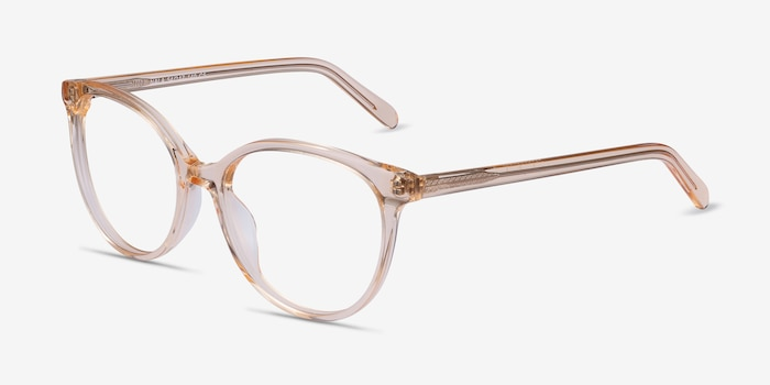 Nala Clear Melon Acetate Eyeglass Frames from EyeBuyDirect, Angle View