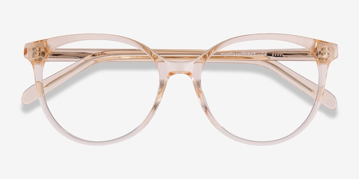 Nala Clear Melon Acetate Eyeglass Frames from EyeBuyDirect, Closed View