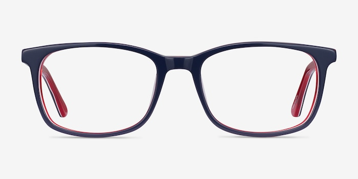 July Navy & Red Acetate Eyeglass Frames from EyeBuyDirect, Front View