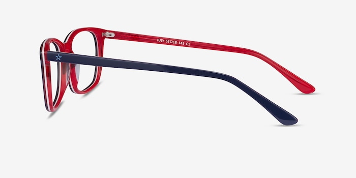 July Navy & Red Acetate Eyeglass Frames from EyeBuyDirect, Side View