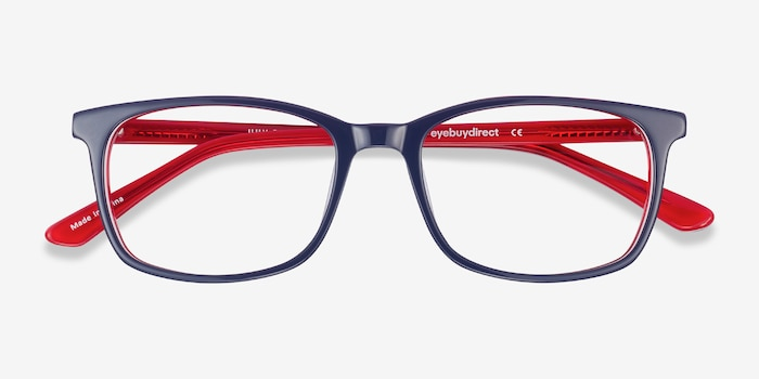 July Navy & Red Acetate Eyeglass Frames from EyeBuyDirect, Closed View