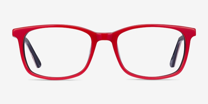 July Red & Navy Acetate Eyeglass Frames from EyeBuyDirect, Front View
