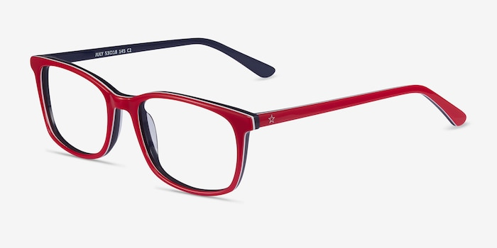 July Red & Navy Acetate Eyeglass Frames from EyeBuyDirect, Angle View