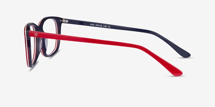 July Red & Navy Acetate Eyeglass Frames from EyeBuyDirect, Side View