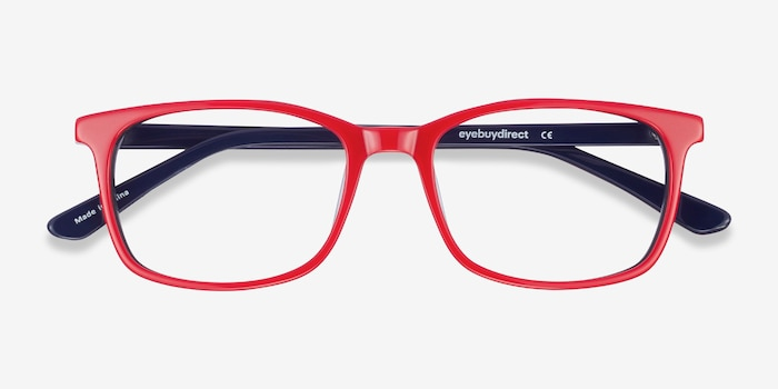 July Red & Navy Acetate Eyeglass Frames from EyeBuyDirect, Closed View
