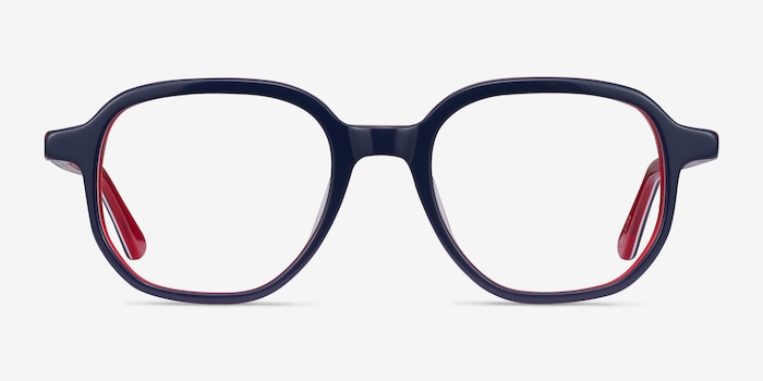 States Navy & Red Acetate Eyeglass Frames from EyeBuyDirect, Front View