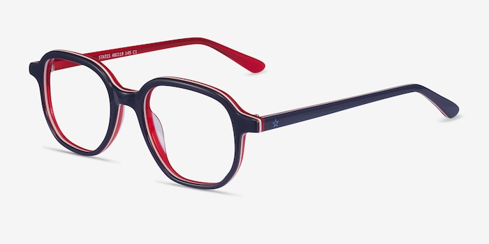 States Navy & Red Acetate Eyeglass Frames from EyeBuyDirect, Angle View