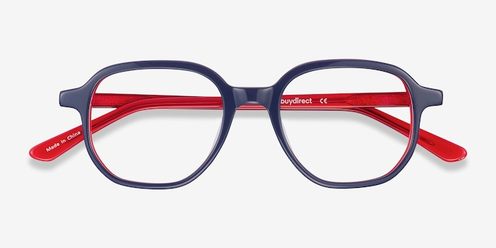 States Navy & Red Acetate Eyeglass Frames from EyeBuyDirect, Closed View