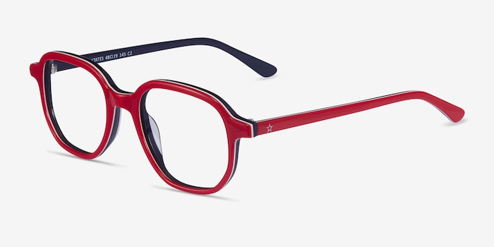 States Red & Navy Acetate Eyeglass Frames from EyeBuyDirect, Angle View