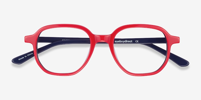 States Red & Navy Acetate Eyeglass Frames from EyeBuyDirect, Closed View