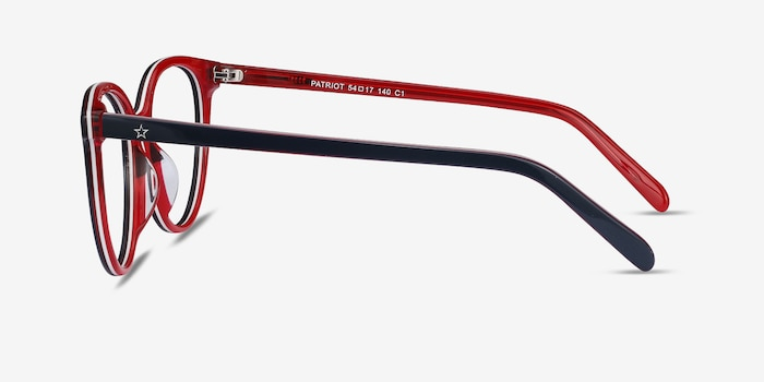 Patriot Navy & Red Acetate Eyeglass Frames from EyeBuyDirect, Side View