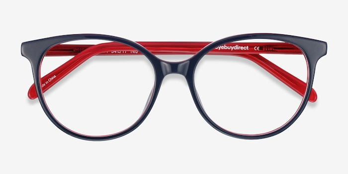 Patriot Navy & Red Acetate Eyeglass Frames from EyeBuyDirect, Closed View