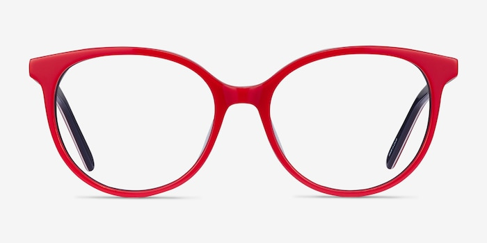 Patriot Red & Navy Acetate Eyeglass Frames from EyeBuyDirect, Front View