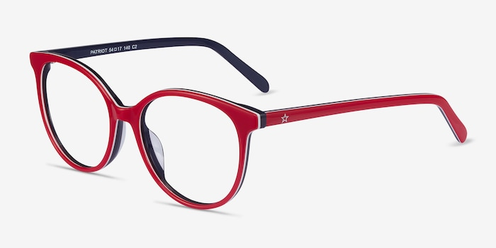 Patriot Red & Navy Acetate Eyeglass Frames from EyeBuyDirect, Angle View