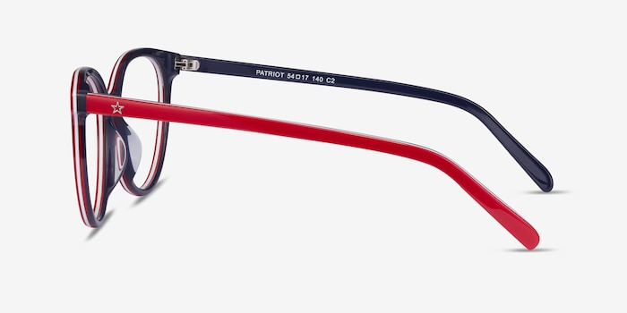 Patriot Red & Navy Acetate Eyeglass Frames from EyeBuyDirect, Side View