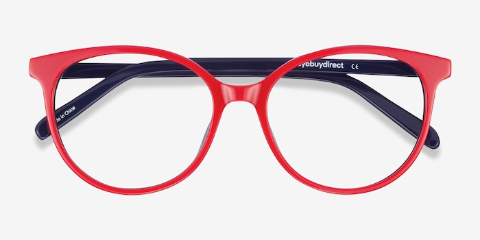 Patriot Red & Navy Acetate Eyeglass Frames from EyeBuyDirect, Closed View