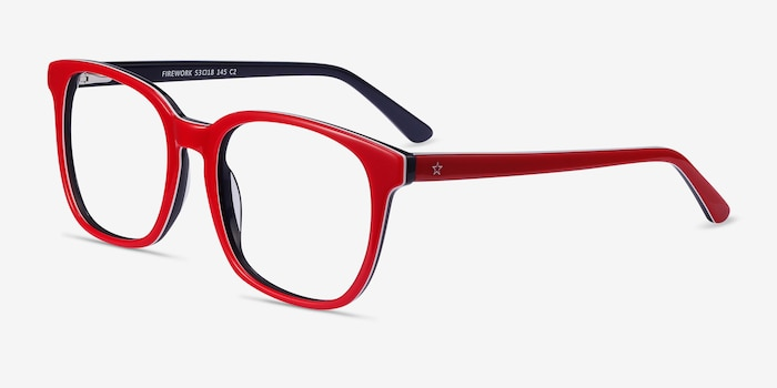 Firework Red & Navy Acetate Eyeglass Frames from EyeBuyDirect, Angle View