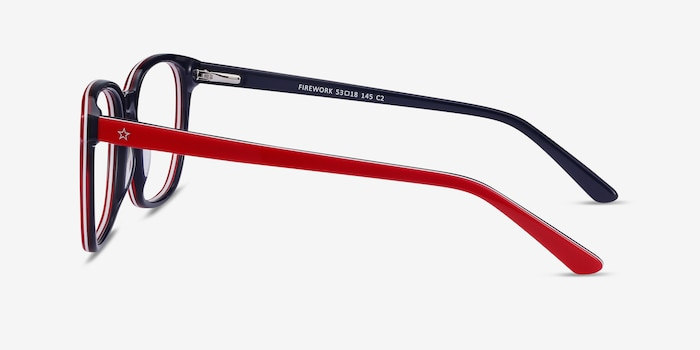 Firework Red & Navy Acetate Eyeglass Frames from EyeBuyDirect, Side View
