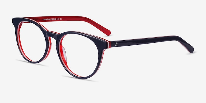Tradition Navy & Red Acétate Montures de Lunettes d'EyeBuyDirect, Vue d'Angle
