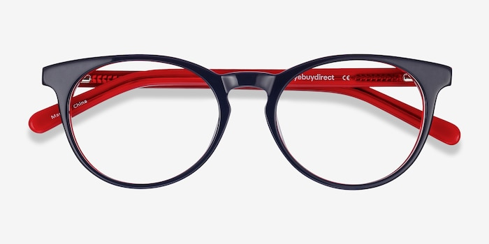 Tradition Navy & Red Acétate Montures de Lunettes d'EyeBuyDirect, Vue Rapprochée