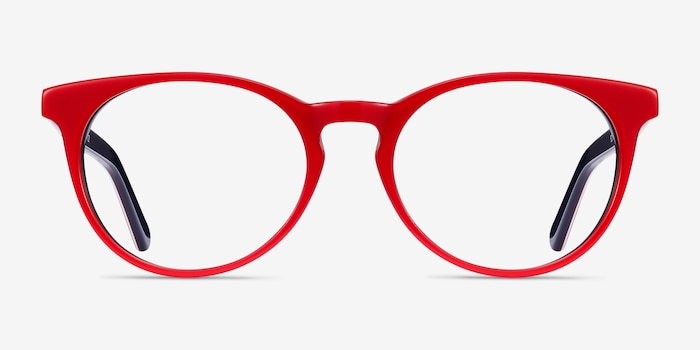 Tradition Red & Navy Acetate Eyeglass Frames from EyeBuyDirect, Front View