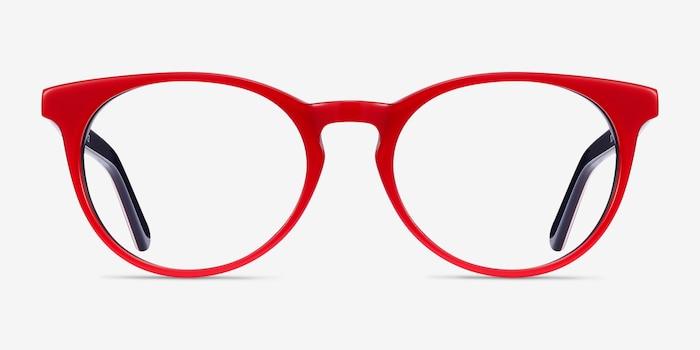 Tradition Red & Navy Acétate Montures de Lunettes d'EyeBuyDirect, Vue de Face