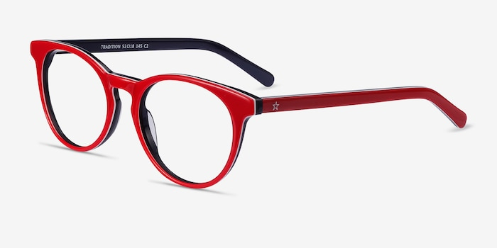 Tradition Red & Navy Acetate Eyeglass Frames from EyeBuyDirect, Angle View