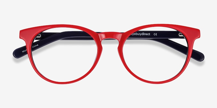 Tradition Red & Navy Acétate Montures de Lunettes d'EyeBuyDirect, Vue Rapprochée