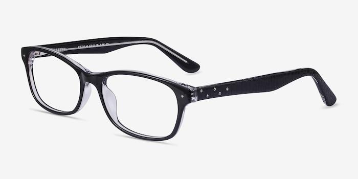 Kedah Black Acetate Eyeglass Frames from EyeBuyDirect, Angle View
