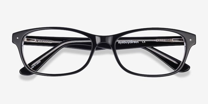 Kedah Black Acetate Eyeglass Frames from EyeBuyDirect, Closed View