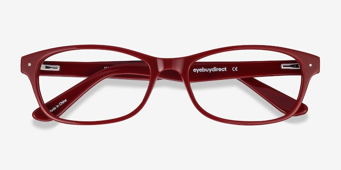 Kedah Burgundy Acetate Eyeglass Frames from EyeBuyDirect, Closed View