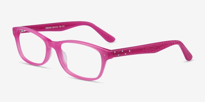 Kedah Pink Acetate Eyeglass Frames from EyeBuyDirect, Angle View