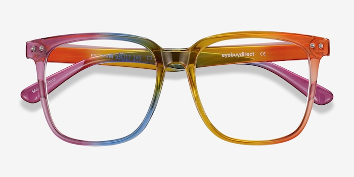 Freedom Rainbow Plastic Eyeglass Frames from EyeBuyDirect, Closed View
